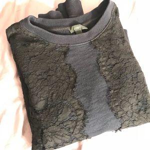 J Crew Lace Appliqué Sweatshirt